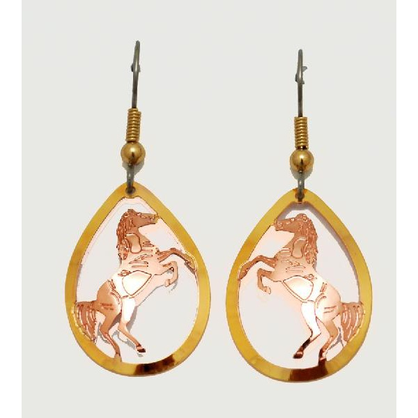 KORVAKORUT - Copper Horse Earrings E-333 - POISTOALE!