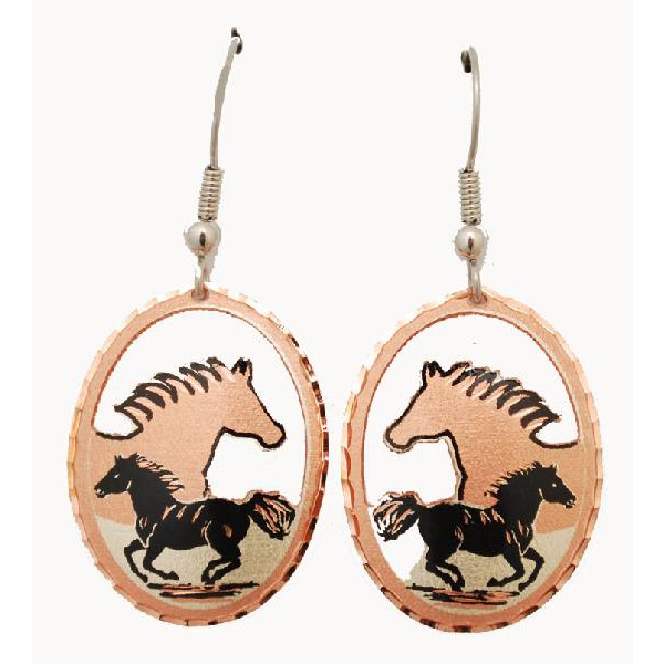 KORVAKORUT - Copper & Gold Plated Earrings with Black Patina -E-355